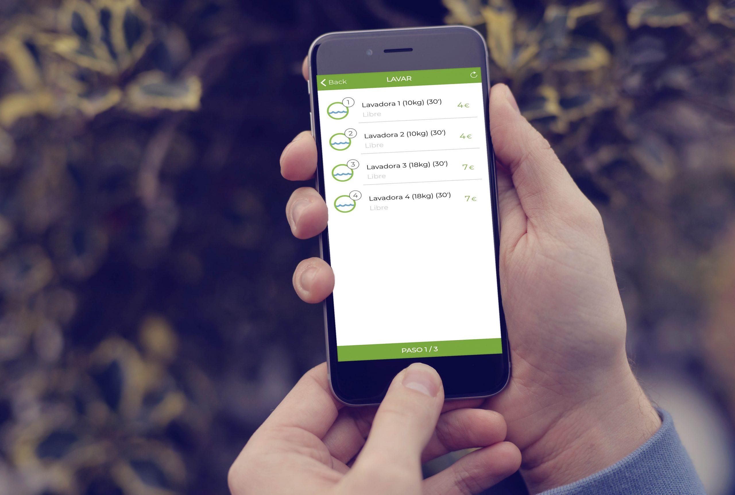 app ecolaundry en uso frente
